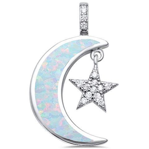 White Opal Crescent Moon & Star Cubic Zirconia .925 Sterling Silver Pendant