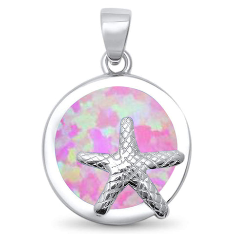 Round Pink Opal Starfish .925 Sterling Silver Pendant