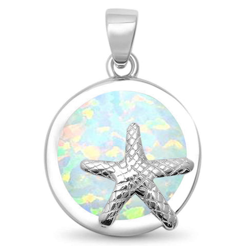 Round White Opal Starfish .925 Sterling Silver Pendant