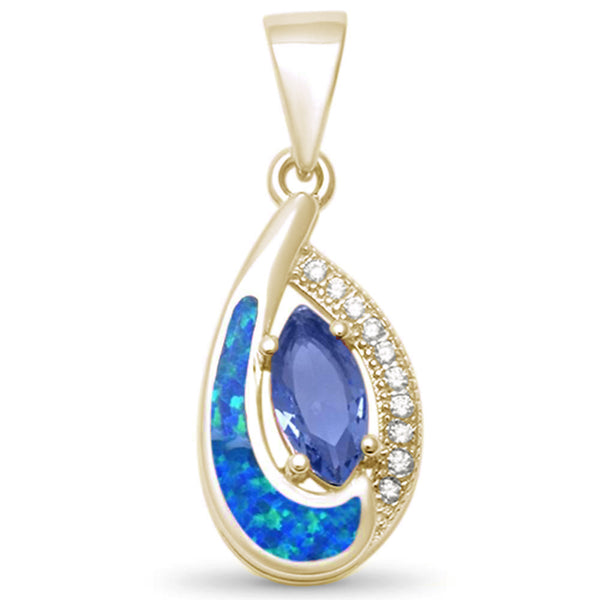 Yellow Gold Plated Tear Drop Tanzanite, Cz & Blue Opal .925 Sterling Silver Pendant