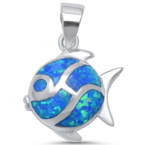 Blue Opal Fish .925 Sterling Silver Pendant
