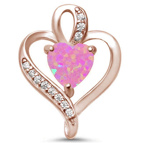 Rose Gold Plated Pink Opal Heart & CZ .925 Sterling Silver Pendant