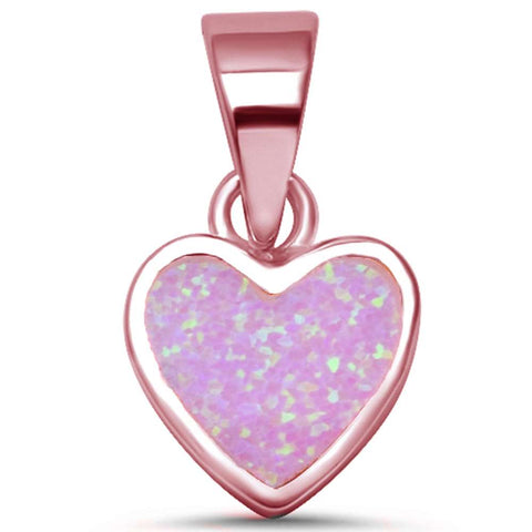 Rose Gold Plated Pink Opal Heart .925 Sterling Silver Pendant