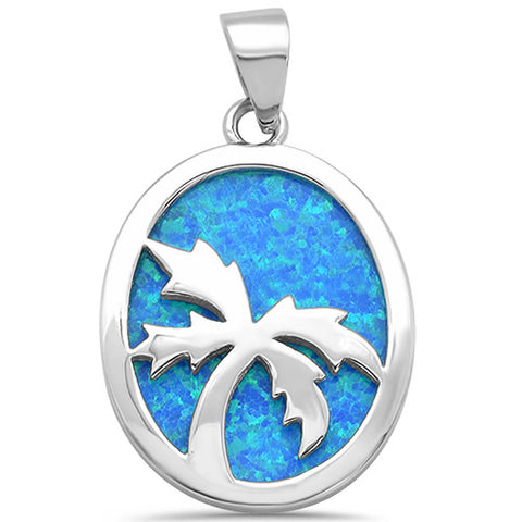 Solid Blue Opal with Palm Tree Design .925 Sterling Silver Pendant