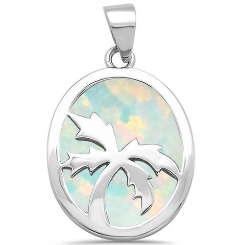 Solid White Opal with Palm Tree Design .925 Sterling Silver Pendant