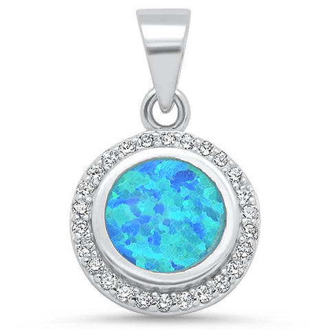 Round Blue Opal & Cubic Zirconia .925 Sterling Silver Pendant