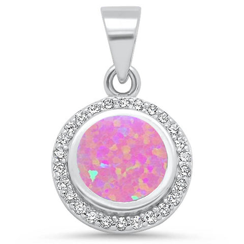 Round Pink Opal & Cz .925 Sterling Silver Pendant