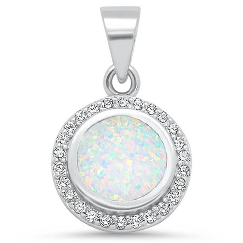 Round White Opal & Cz  .925 Sterling Silver Pendant