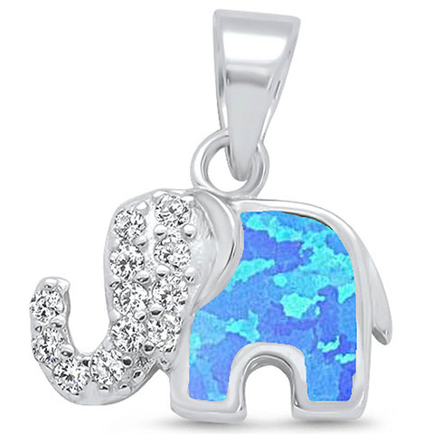 Blue Opal & Cubic Zirconia Elephant Design .925 Sterling Silver Pendant