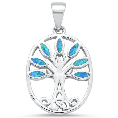 Blue Opal Tree of Life .925 Sterling Silver Pendant