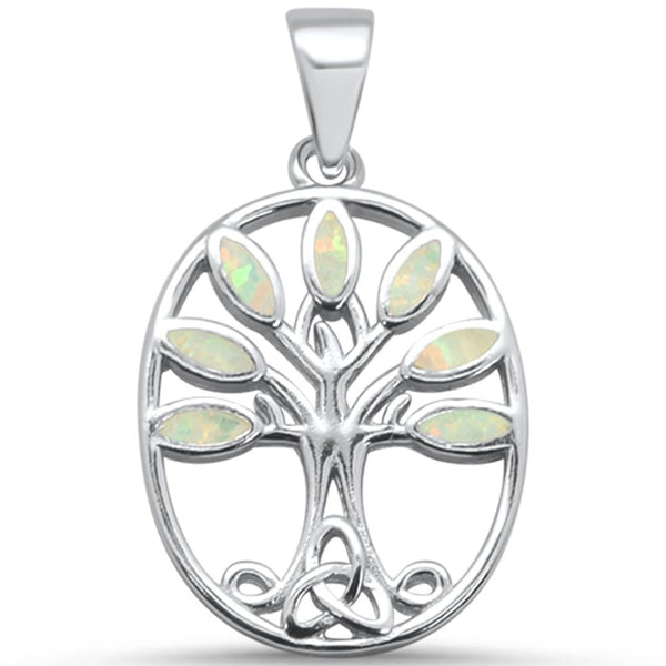 White Opal Tree of Life .925 Sterling Silver Pendant