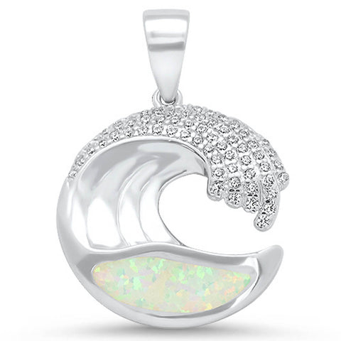 White Opal & Cubic Zirconia Wave Design .925 Sterling Silver Pendant