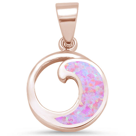 Rose Gold Plated Wave Design .925 Sterling Silver Pendant