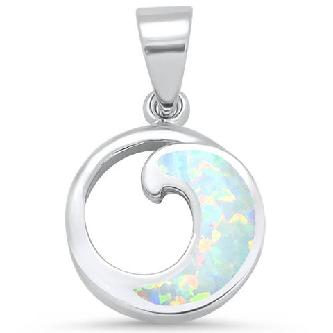 White Opal Wave Design .925 Sterling Silver Pendant