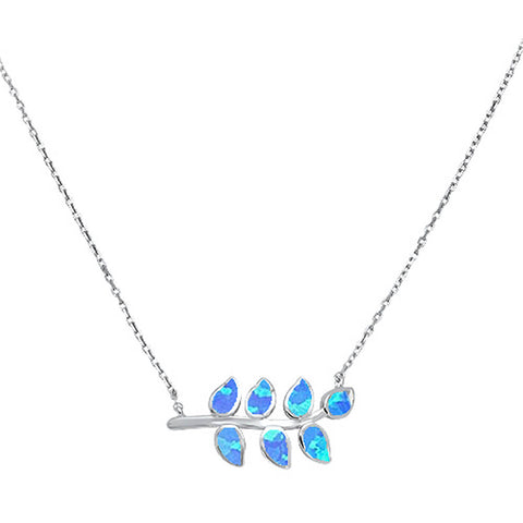 Blue Opal Leaf Design .925 Sterling Silver Necklace