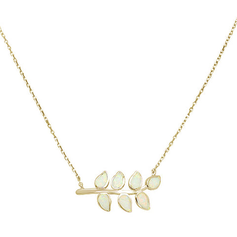 Yellow Gold plated White Opal Leaf Design  .925 Sterling Silver Necklace