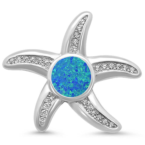 Blue Opal & Cz Starfish .925 Sterling Silver Pendant