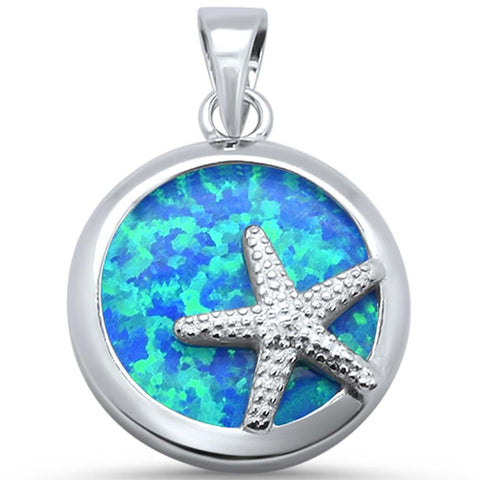 Round Blue Opal Starfish Sand dollar .925 Sterling Silver Pendant