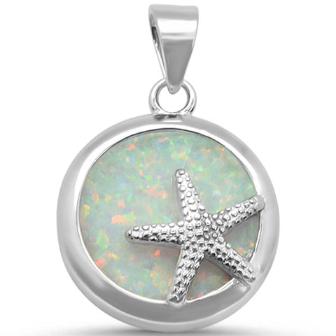 Round White Opal .925 Sterling Silver Pendant
