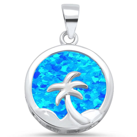 Round Blue Opal with Palm Tree Design .925 Sterling Silver Pendant
