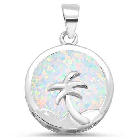 Round White Opal with Palm Tree Design .925 Sterling Silver Pendant