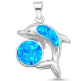Created Blue Opal Ball & Dolphin Design .925 Sterling Silver Pendant