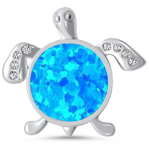 Created Round Blue Opal & CZ .925 Sterling Silver Pendant