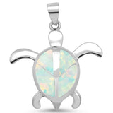 White Opal Turtle With Peace Sign .925 Sterling Silver Pendant