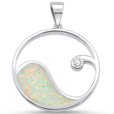 White Opal & Cz Wave Design .925 Sterling Silver Pendant