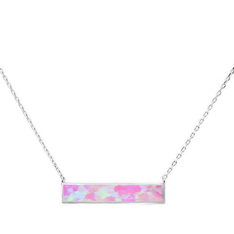Pink Opal Bar .925 Sterling Silver Necklace