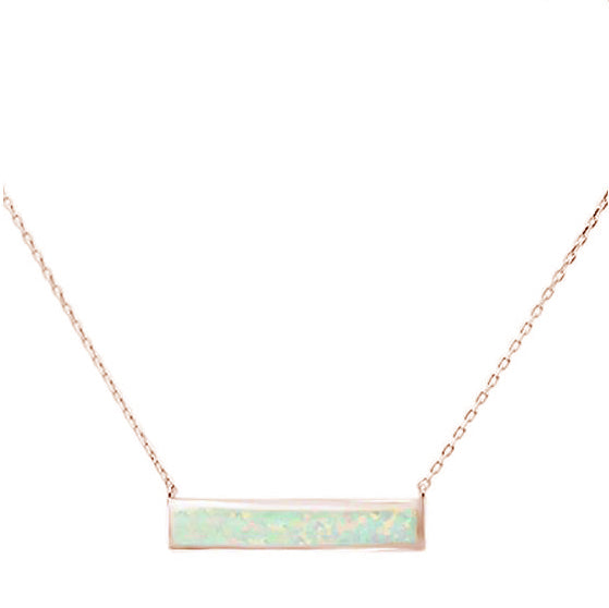 Rose Gold Plated White Opal Bar .925 Sterling Silver Necklace