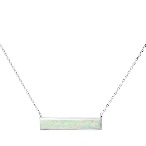 White Opal Bar .925 Sterling Silver Necklace