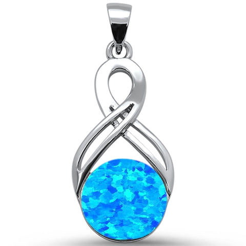 Round Blue Opal Infinity .925 Sterling Silver Pendant
