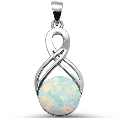 Round White Opal Infinity .925 Sterling Silver Pendant