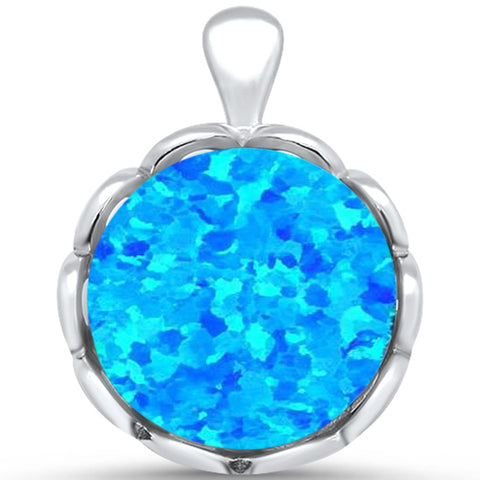 Blue Opal Round .925 Sterling Silver Pendant