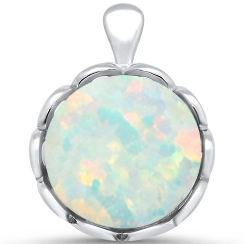 White Opal Round .925 Sterling Silver Pendant