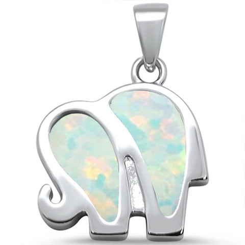 White Opal Elephant .925 Sterling Silver Pendant