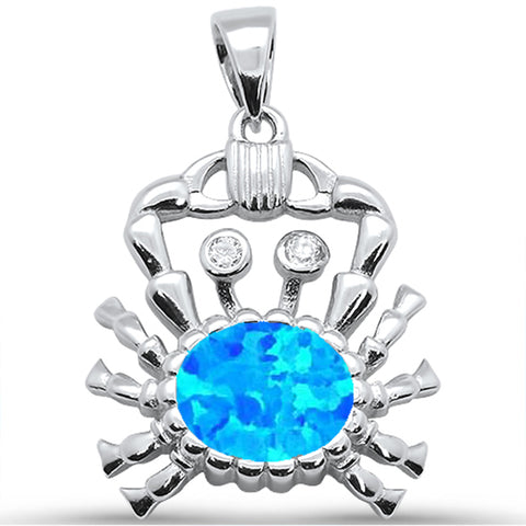 Blue Opal Crab .925 Sterling Silver Pendant
