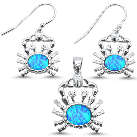 Blue Opal Crab .925 Sterling Silver Earrings & Pendant Set