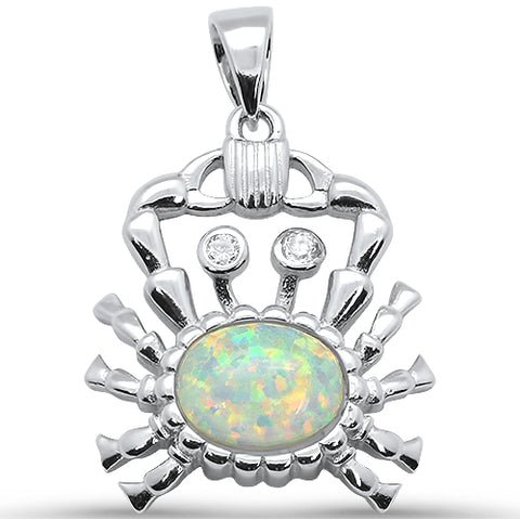 White Opal Crab .925 Sterling Silver Pendant