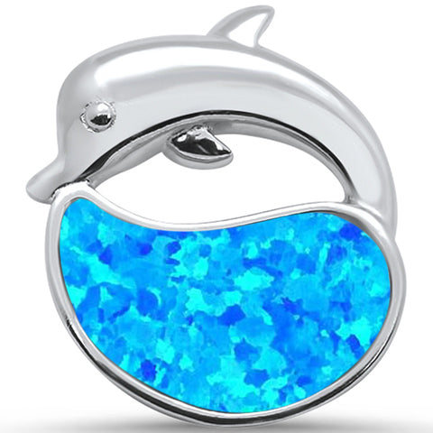 Blue Opal Dolphin .925 Sterling Silver Pendant