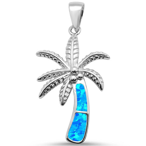 Blue Opal Palm Tree .925 Sterling Silver Pendant