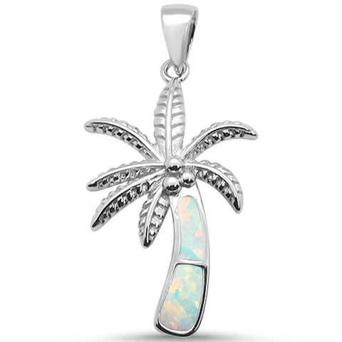 White Opal Palm Tree .925 Sterling Silver Pendant