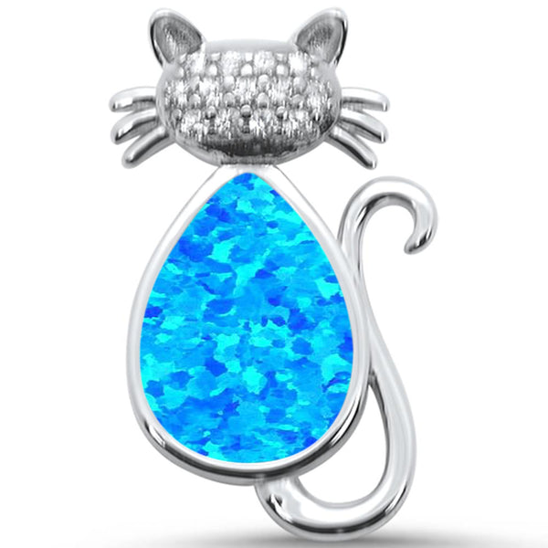 Created Blue Opal & CZ Cat .925 Sterling Silver Pendant
