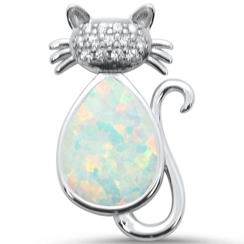 Created White Oapl & CZ Cat .925 Sterling Silver Pendant