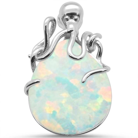 White Opal Oval .925 Sterling Silver Pendant