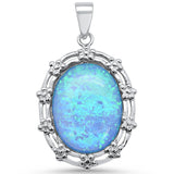 Oval Blue Opal Antique Design .925 Sterling Silver Pendant