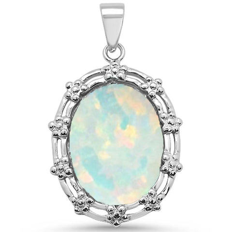 Oval White Opal Antique Design .925 Sterling Silver Pendant