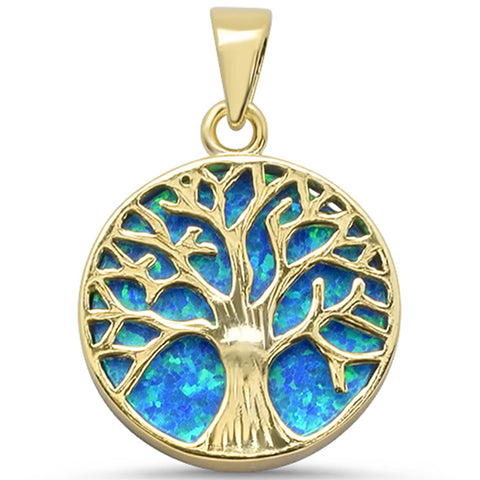 Yellow Gold Plated Round Blue Opal Tree of Life Design .925 Sterling Silver Pendant
