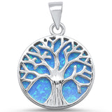 Round Blue Opal Tree of Life Design .925 Sterling Silver Pendant